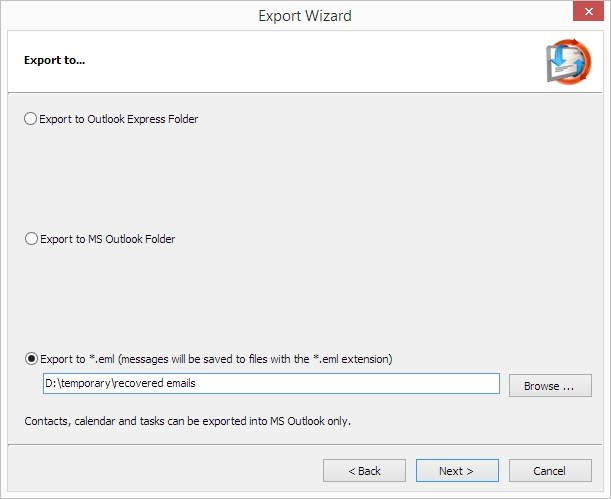Live Mail Recovery: Export wizard - save and convert options
