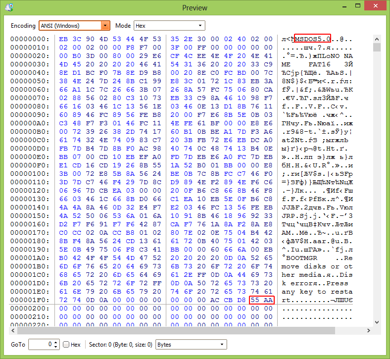 decrypted Bitlocker disk preview: you can see FAT16 identifier
