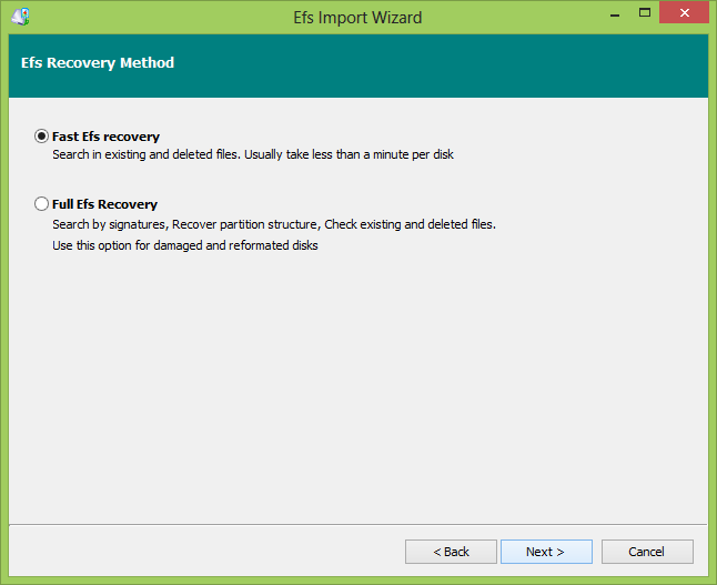 EFS and Bitlocker Import wizard, scan options