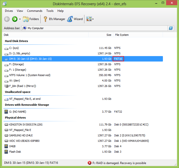 decrypted BitLocker disk now shown as non simple FAT16 partition